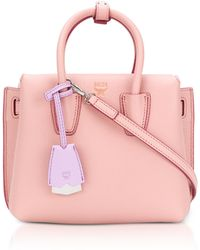 MCM - Milla Pink Blush Leather Small Tote Bag - Lyst