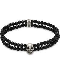 Northskull - Double Row Beaded Bracelet With Skull Charmin Black Onyx & Silver - Lyst