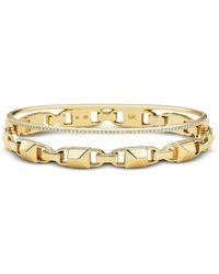 Michael Kors - Gold Mercer Link Pavé Halo Women's Bracelet - Lyst