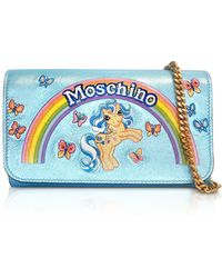 Moschino - My Little Pony Laminated Leather Wallet Clutch W/chain - Lyst