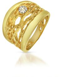 Orlando Orlandini - Diamond Open-work 18k Yellow Gold Band Ring - Lyst