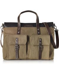 The Bridge - Carver-d Canvas And Leather Men's Tote Bag - Lyst