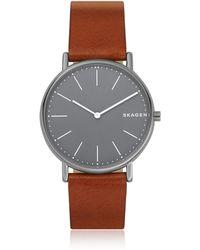 Skagen - Signatur Slim Titanium And Cognac Leather Men's Watch - Lyst