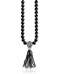 Thomas Sabo   Ethno Black Sterling Silver Men's Long Necklace W/obsidian Matt & Polished Beads And Tassel   Lyst