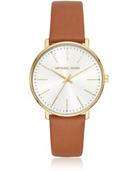 Michael Kors - Women's Gold-tone And Luggage Leather Pyper Watch - Lyst