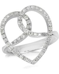 FORZIERI - Diamond Crossing Heart 18k White Gold Ring - Lyst