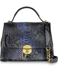 Ghibli | Dark Blue Python Satchel Bag W/detachable Shoulder Strap | Lyst