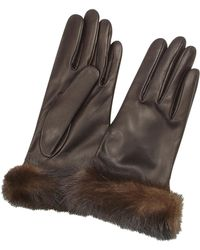 FORZIERI - Women's Dark Brown Italian Nappa Leather Gloves W/mink Fur - Lyst