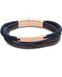 Fossil - Vintage Casual Rose Gold Tone Steel Multi Strand Men's Bracelet - Lyst