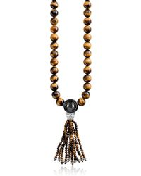 Thomas Sabo - Power Blackened Sterling Silver Necklace w/Tiger Eye and Obsidian Polished Beads & Tassel - Lyst