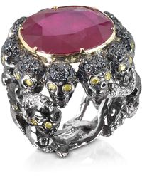 Bernard Delettrez - Skulls And Snakes Black Ring W/glass-treated Ruby - Lyst
