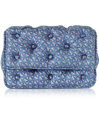 Benedetta Bruzziches - Leopards Printed Blue Satin Silk Carmen Shoulder Strap - Lyst