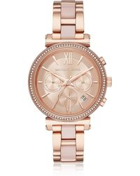 Michael Kors - Sofie Rose Gold-tone And Acetate Women's Watch - Lyst
