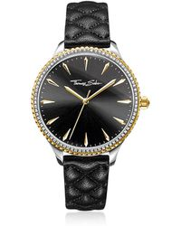 Thomas Sabo - Rebel At Heart Two Tone Stainless Steel And Black Quilted Leather Strap Women's Watch W/crystals - Lyst