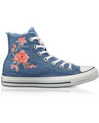 Converse - Chuck Taylor All Star High Sneakerda Donna in Denim Ricamato a Fiori - Lyst
