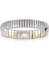Nomination - Single Pearl Golden Stainless Steel Women's Bracelet W/cubic Zirconia - Lyst