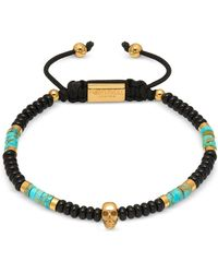 Northskull - Atticus Skull Macramé Bracelet In Black Onyx W/ Turquoise And Yellow Gold - Lyst