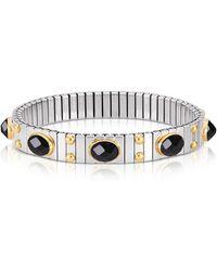 Nomination - Small Black Cubic Zirconia Stainless Steel W/golden Studs Women's Bracelet - Lyst