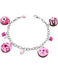 Dolci Gioie - Sterling Silver Donut Charm Bracelet - Lyst
