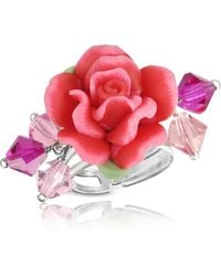 Dolci Gioie - Sterling Silver Red Rose Ring - Lyst