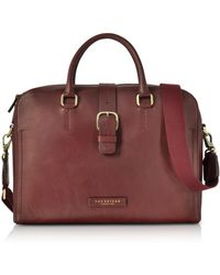 The Bridge - Burgundy Leather Double Handle Briefcase W detachable Shoulder  Strap - Lyst 938961e4c25bc