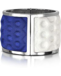 Avril8790 - Palladium Plated Brass And White And Blue Viscose Bangle - Lyst