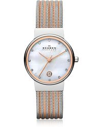 Skagen - Ancher Two Tone Striped Stainless Steel Mesh Women's Watch - Lyst