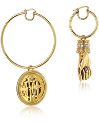 Roberto Cavalli - Antique Goldtone Metal Crystal Hand And Large Logo Coin Drop Earrings - Lyst