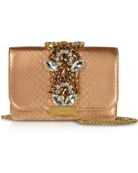 Gedebe - Cliky Python Gold Rose Pearl Clutch W/crystals - Lyst