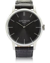 LOCMAN - 1960 Stainlees Steel Men's Watch W/black Croco Embossed Leather Strap - Lyst