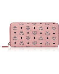 MCM - Soft Pink Visetos Large Zip Around Wallet - Lyst