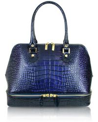 L.A.P.A. | Blue Croco Patent Leather Bowler Bag | Lyst