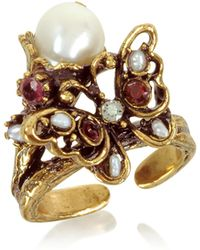 Alcozer & J - Butterfly Brass Ring W/glass Pearl - Lyst