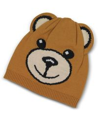 Moschino - Teddy Bear Brown Wool Beanie - Lyst