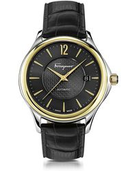 Ferragamo | Ferragamo Time Silver Stainless Steel And Gold Ip Men's Automatic Watch W/black Croco Embossed Strap | Lyst