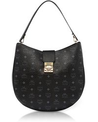 MCM - Patricia Visetos Black Large Hobo Bag - Lyst