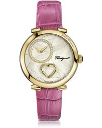 Ferragamo - Cuore Ferragamo Gold Ip Stainless Steel Diamonds And Beating Heart Women's Watch W/pink Croco Embossed Strap - Lyst