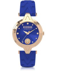 Versus - V Versus Rose Gold Tone Stainless Steel Women's Watch W/blue Leather Strap - Lyst