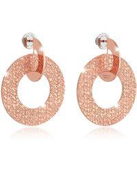 Rebecca - R-zero Rose Gold Over Bronze Drop Hoop Earrings - Lyst