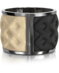 Avril8790 - Double Ruthenium Plated Brass And Black/gold Viscose Bangle - Lyst