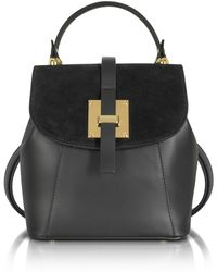 Le Parmentier - Palazia Black Suede And Leather Small Backpack - Lyst