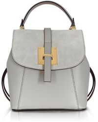 Le Parmentier - Palazia Pearl Grey Suede And Leather Small Backpack - Lyst