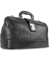 Chiarugi - Black Genuine Italian Leather Doctor Bag - Lyst