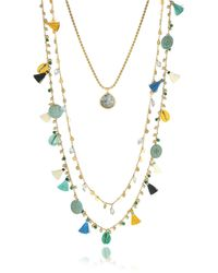 Tory Burch - Blue And Vintage Gold Coin And Tassels Multi-layering Necklace - Lyst