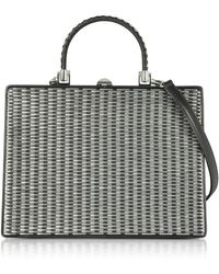 Rodo - Black And Silver Woven Leather Squared Satchel Bag - Lyst