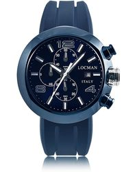 LOCMAN | Tondo Blue Pvd Stainless Steel Chronograph Men's Watch W/leather And Silicone Band Set | Lyst
