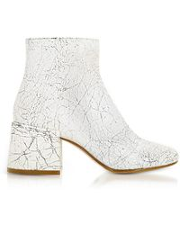 MM6 by Maison Martin Margiela - White Crackled Leather Boots - Lyst