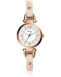 Fossil - Georgia Three-hand Blush Leather Watch - Lyst