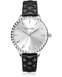 Thomas Sabo - Rebel At Heart Silver Stainless Steel Women's Watch W/black Quilted Leather Strap - Lyst