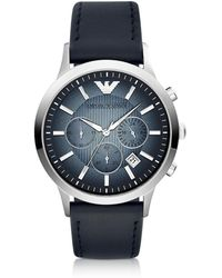 Emporio Armani - Chronograph Leather Band Men's Watch - Lyst
